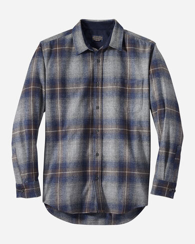 MEN'S LODGE SHIRT, GREY/NAVY/BROWN OMBRE, large