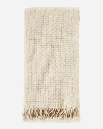 CESTINO WOOL/ALPACA FRINGED THROW IN NATURAL WHITE