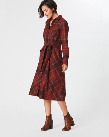 CYNTHIA PLAID SHIRTDRESS, WINE MULTI PLAID, large