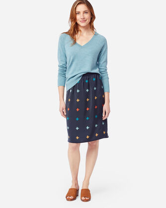 ALTERNATE VIEW OF PULL ON SKIRT IN MIDNIGHT NAVY PRINT