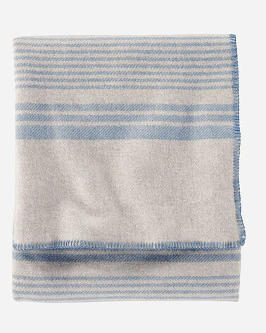 ECO-WISE WOOL PLAID/STRIPE BLANKET IN TAUPE IRVING STRIPE FOLDED