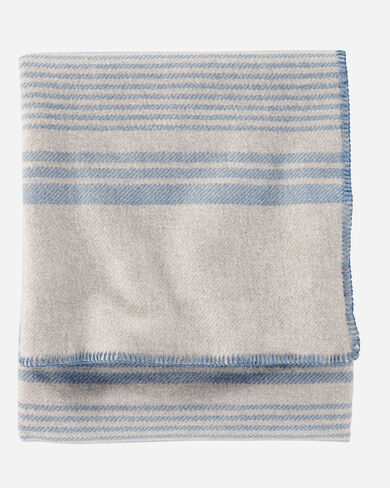 ECO-WISE WOOL PLAID/STRIPE BLANKET IN TAUPE IRVING STRIPE