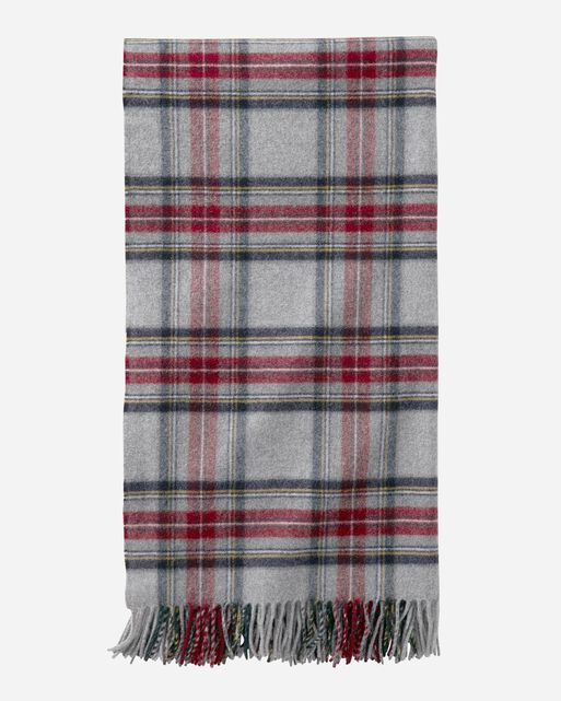 PLAID 5TH AVENUE MERINO THROW IN GREY STEWART