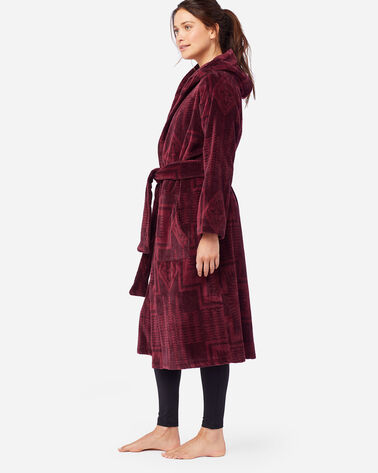 ALTERNATE VIEW OF WOMEN'S JACQUARD TERRY ROBE IN BURGUNDY HARDING