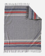 ECO-WISE WOOL FRINGED THROW IN GREY STRIPE