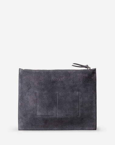 ADDITIONAL VIEW OF SUEDE ZIP CLUTCH IN GREY/CHARCOAL