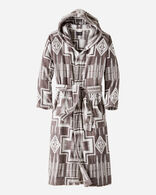 MEN'S JACQUARD COTTON TERRY ROBE IN GREY/IVORY HARDING