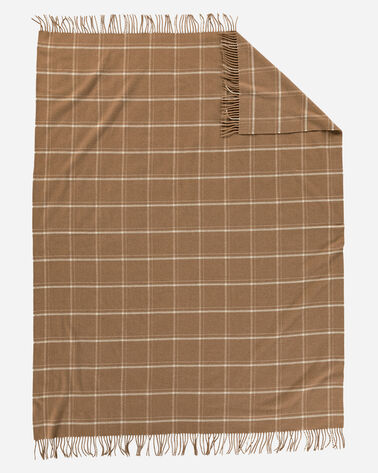 ADDITIONAL VIEW OF 5TH AVENUE WINDOWPANE MERINO THROW IN CAMEL