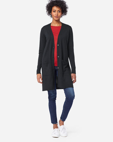 WOMEN'S TIMELESS MERINO LONG CARDIGAN, BLACK, large