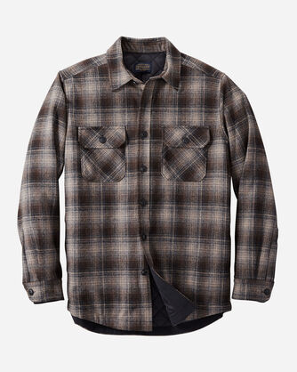 ALTERNATE VIEW OF MEN'S QUILTED SHIRT JACKET IN TAN/BLACK/GREY OMBRE