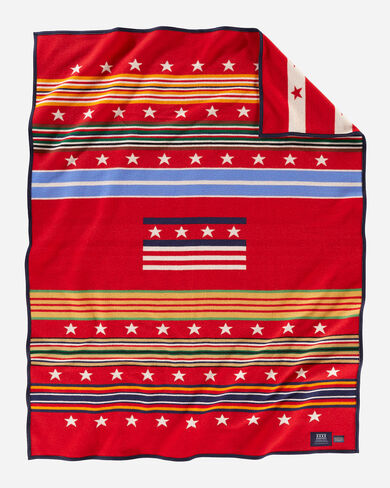 GRATEFUL NATION BLANKET IN RED MULTI