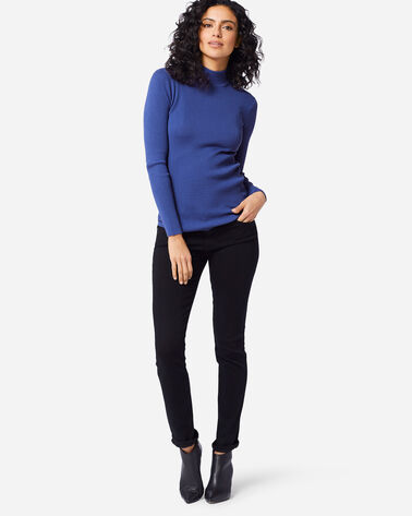 ADDITIONAL VIEW OF WOMEN'S RIB MOCK NECK PULLOVER IN ULTRAMARINE