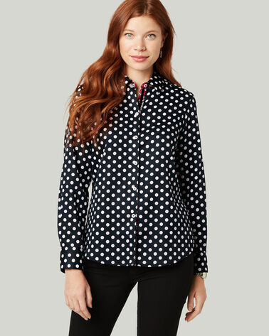 AVA POLKA DOT NON-IRON SHIRT, BLACK/WHITE, large