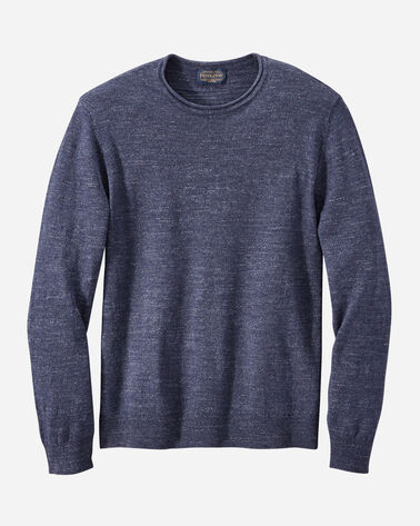 MEN'S ROLL NECK CREW SWEATER, INDIGO, large