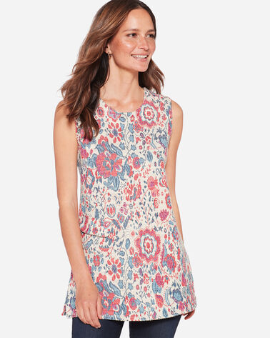 SLEEVELESS FLORAL TUNIC, PINK/BLUE, large