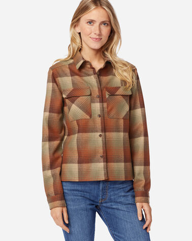 WOMEN'S CROPPED BOARD SHIRT IN PUMPKIN/BROWN OMBRE