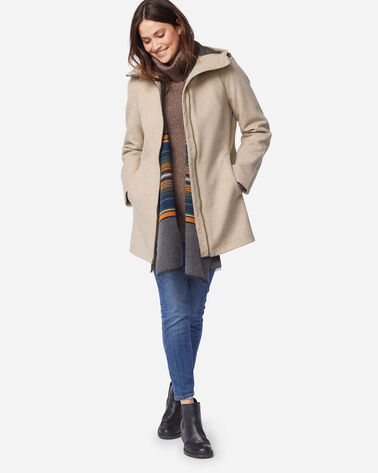 WOMEN'S FINLAY WATERPROOF HOODED COAT IN OATMEAL