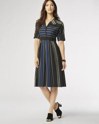RYER STRIPE DRESS, BLACK, large