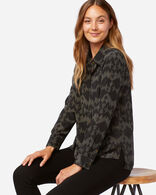 WOMEN'S LONG-SLEEVE SILK BLOUSE IN BLACK MULTI SONORA