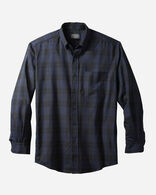 AIRLOOM MERINO SIR PENDLETON SHIRT, CLERGY NAVY TARTAN, large
