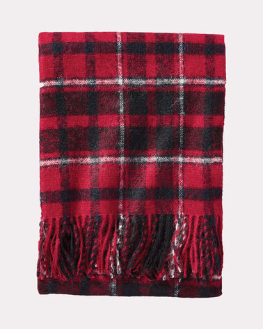 BOUCLE WOOL THROW, RED STRATTON PLAID, large