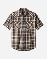 MEN'S SHORT-SLEEVE FRONTIER SHIRT IN NAVY/BROWN OMBRE