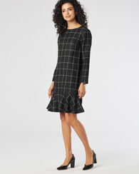 RUFFLE HEM WOOL DRESS, BLACK WINDOWPANE, large