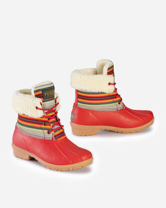 ALTERNATE VIEW OF WOMEN'S SERAPE ROLL TOP DUCK BOOTS IN RED
