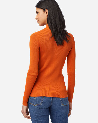 ALTERNATE VIEW OF WOMEN'S RIB MOCK NECK PULLOVER IN BAKED CLAY