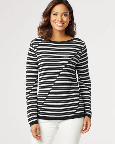 MARIN PULLOVER, BLACK/WHITE, large