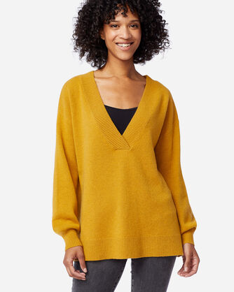WOMEN'S CASHMERE EASY FIT V-NECK IN GOLD HEATHER