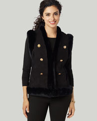 BUTTON SUEDE FUR VEST, BLACK, large