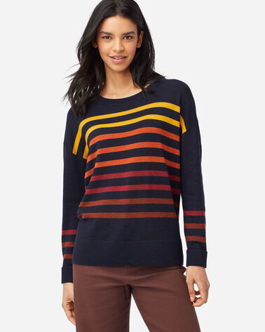 ALTERNATE VIEW OF WOMEN'S TIMELESS MERINO STRIPED CREW IN NAVY MULTI