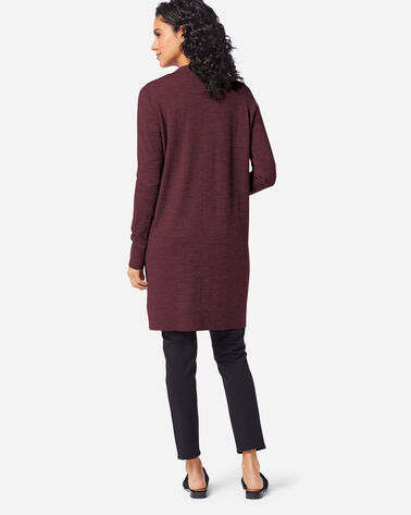 ALTERNATE VIEW OF WOMEN'S TIMELESS MERINO LONG CARDIGAN IN RUSTIC PLUM HEATHER