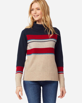 ADDITIONAL VIEW OF WOMEN'S CAMP STRIPE WOOL TURTLENECK IN SANDSHELL/NAVY
