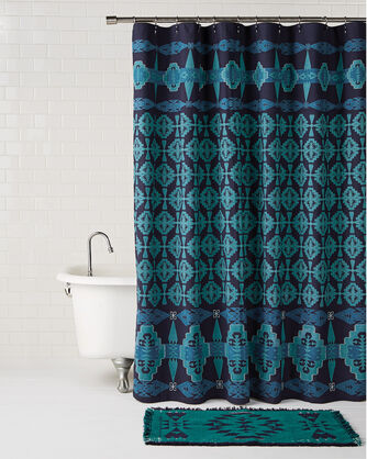 Large TUCSON EMBROIDERED SHOWER CURTAIN TURQUOISE NAVY