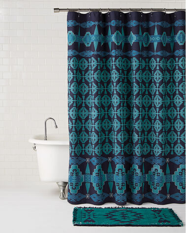 TUCSON EMBROIDERED SHOWER CURTAIN, TURQUOISE/NAVY, large