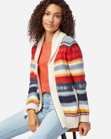WOMEN'S CAMPFIRE ZIP CARDIGAN IN IVORY MULTI STRIPE