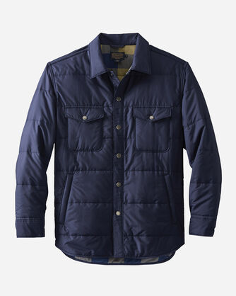 LIGHTWEIGHT QUILTED SHIRT JACKET, NAVY, large