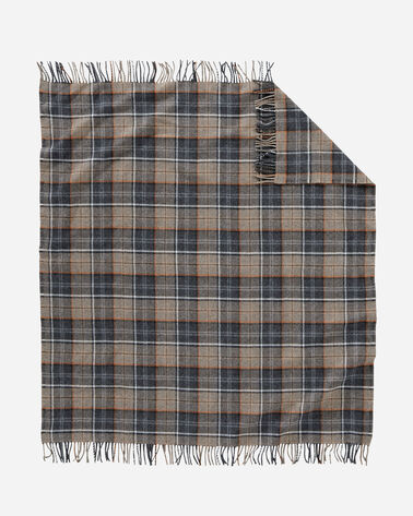 ADDITIONAL VIEW OF ECO-WISE WOOL FRINGED THROW IN SMOKE PLAID