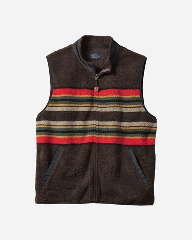 MEN'S CAMP STRIPE FLEECE VEST IN BROWN