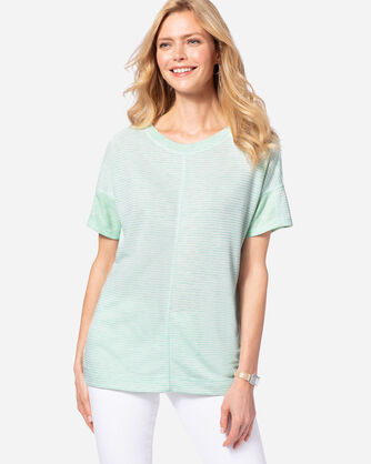 WOMEN'S DOUBLE-SIDE KNIT TEE, MINT, large