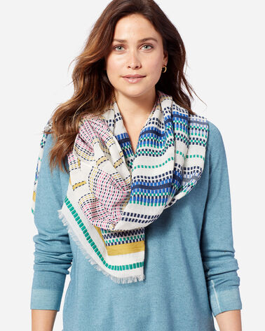 ADDITIONAL VIEW OF PALOMA STRIPE SCARF IN BRIGHT STRIPE