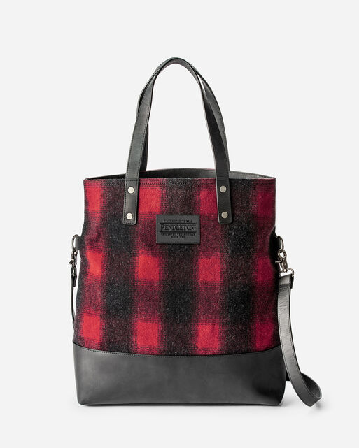 BUFFALO CHECK LONG TOTE, RED/BLACK OMBRE, large