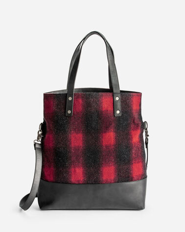 ADDITIONAL VIEW OF BUFFALO CHECK LONG TOTE IN RED/BLACK OMBRE