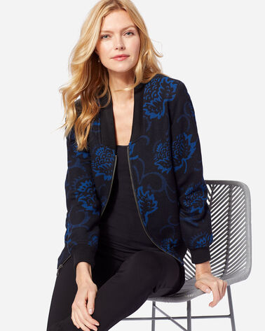 WOMEN'S THISTLE BOMBER, BLUE/BLACK, large