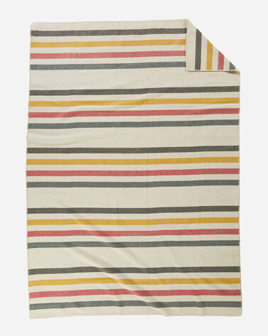 ECO-WISE WOOL PLAID/STRIPE BLANKET IN GLACIER PARK WHITE LAYING FLAT