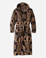 MEN'S JACQUARD COTTON TERRY ROBE IN DARK NAVY/BROWN HARDING