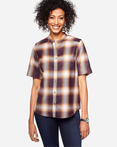 AMELIA PLAID WOOL TUNIC, MAROON/COPPER OMBRE, large
