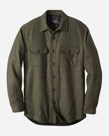 MEN'S QUILTED SHIRT JACKET IN PEAT MOSS MIX SOLID